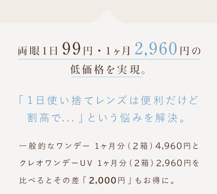 両眼1日99円・1ヶ月2,960円を実現しました。